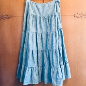 LRL Ralph Lauren Blue Tiered Long Ankle Skirt 4